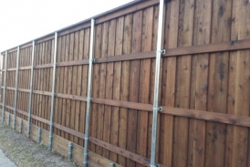 8' Board on Board Cedar with Treated Pine Retaining Wall