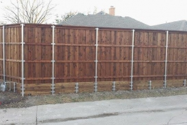 8' Board on Board Cedar with Treated Pine Retaining Wall(1)