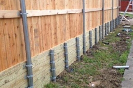 8' Side by Side Cedar with Treated Pine Retaining Wall