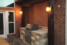 Stone Grill Enclosure with Pergola