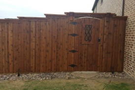 8' Custom Cedar Gate with Header and Electronic Keypad